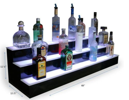 Fabulous Details About 2 3 Step Tier Led Lighted Back Bar Glowing Interior Design Ideas Lukepblogthenellocom