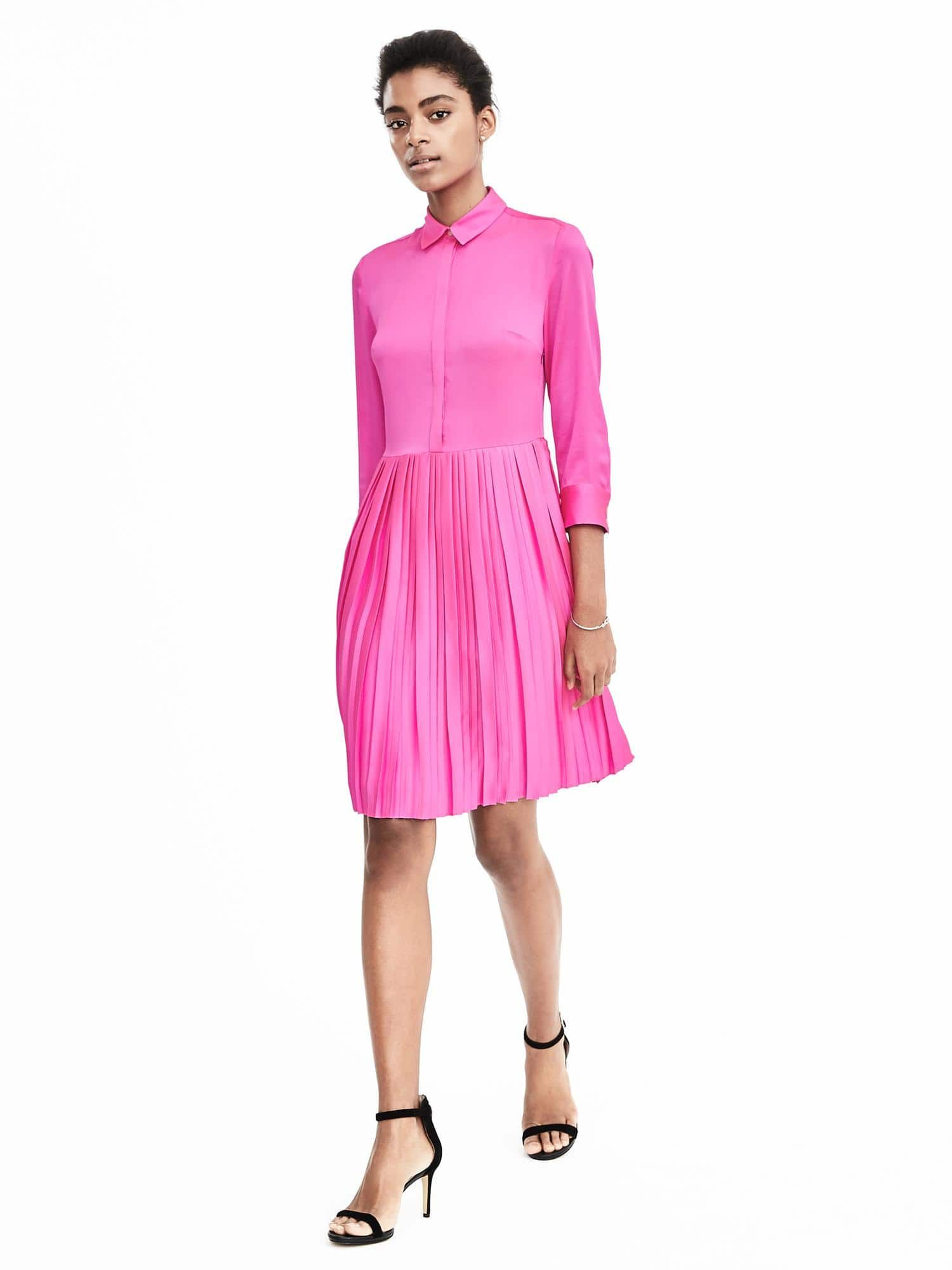 64106ec279b Pleat-Skirt Shirtdress