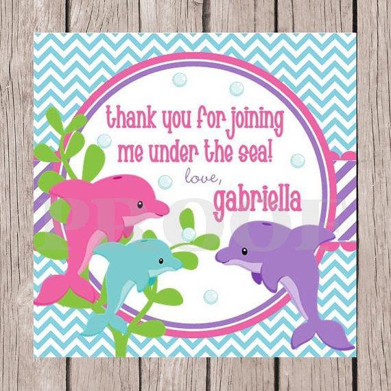 PRINTABLE Personalized Dolphin Birthday Party Favor by ciaobambino – Dolphin Birthday Invitations