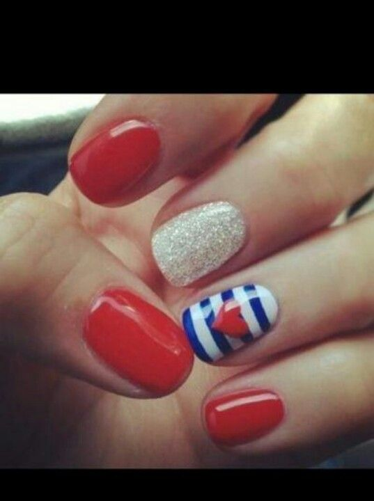blue and red nail design ~ love these<3