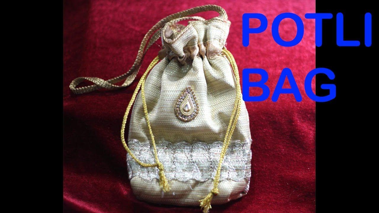 Sarita Creations 1 Piece Silk Pink Drawstring Potli Bag Jewelry Pouch Bag