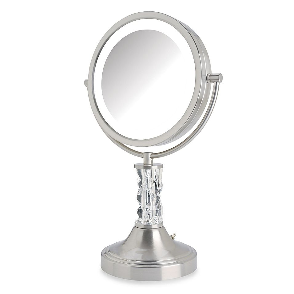 Jerdon 8x 1x Steuben Prism Led Lighted Vanity Mirror In Nickel