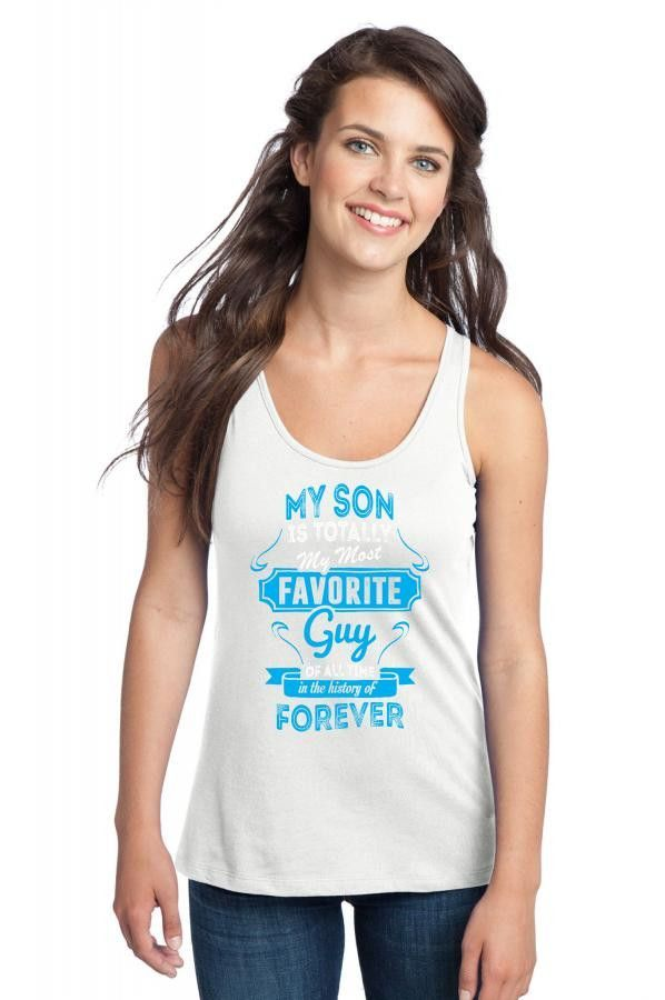 my son is totally my most favorite guy 3 Racerback Tank
