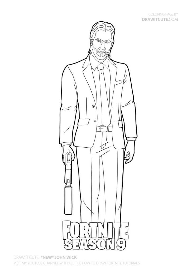How To Draw New John Wick Fortnite Season 9 Step By Step Drawing