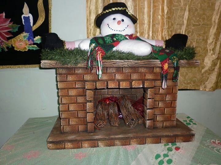 Chimenea Navidad Chimeneas Navidad Manualidades Navidenas Artesanias Navidenas
