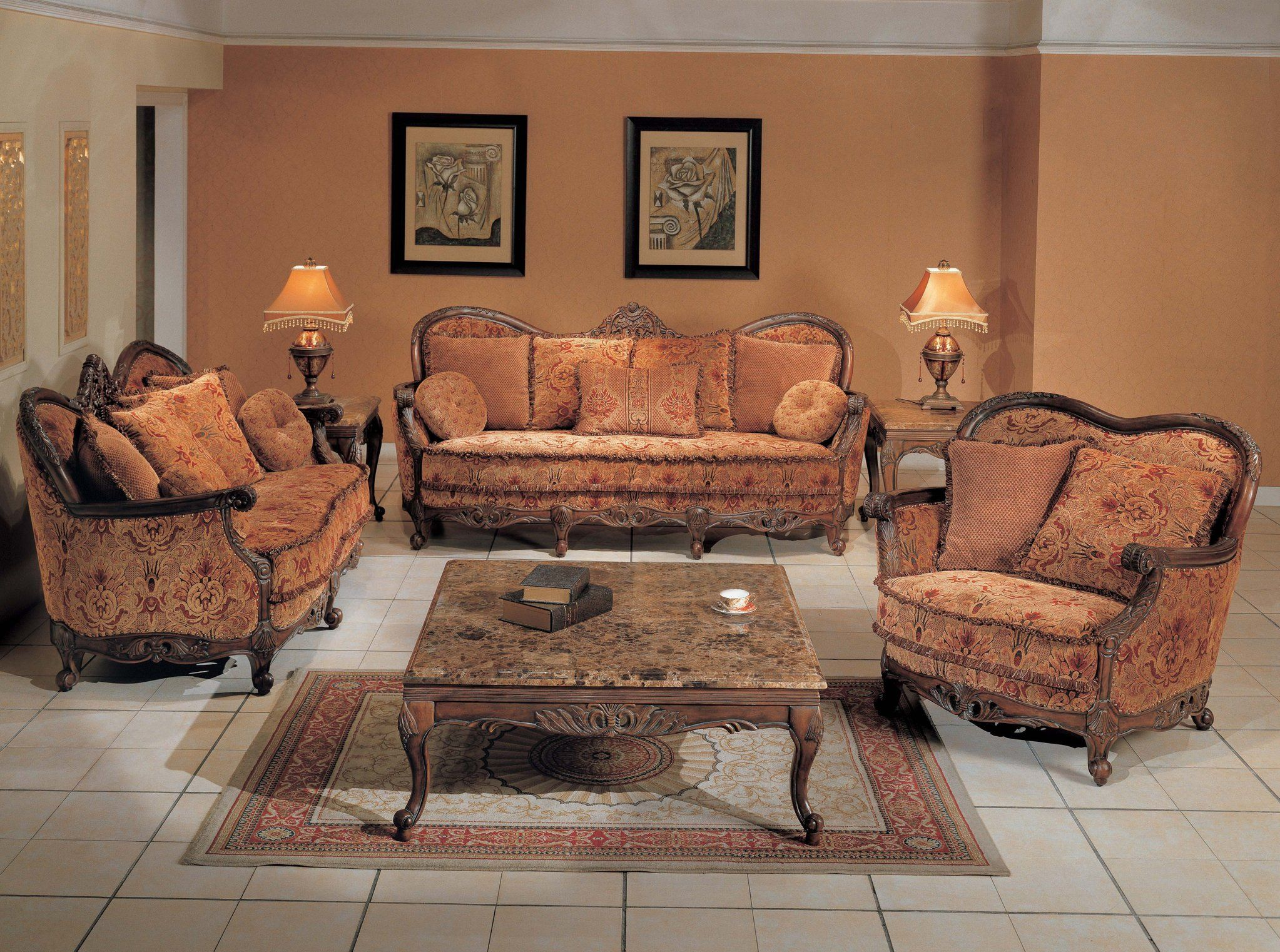 Brilliant Fine Peach Sofa Set Traditional Floral Sofa Group With Pabps2019 Chair Design Images Pabps2019Com