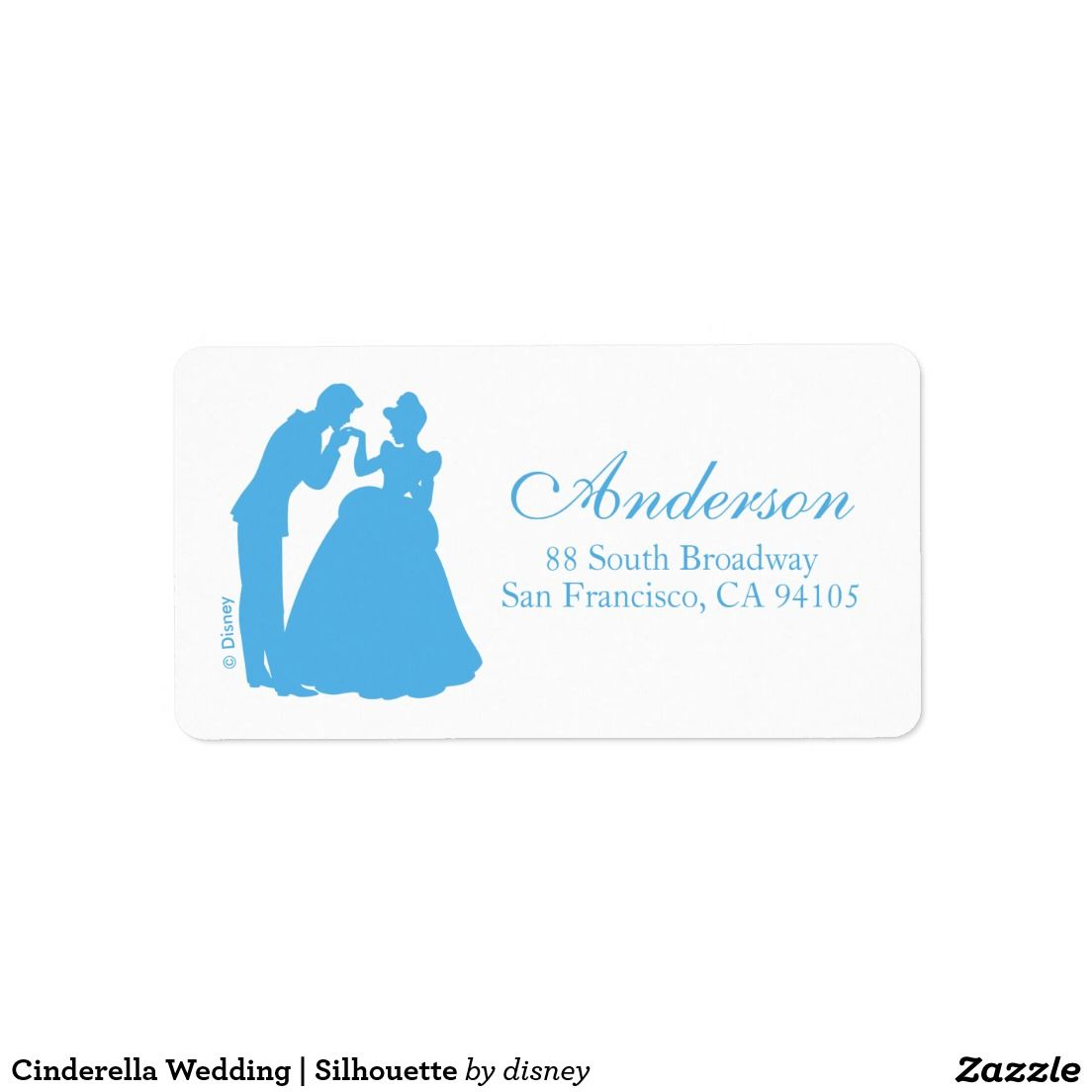 Cinderella Wedding Silhouette Label Wedding Invitations