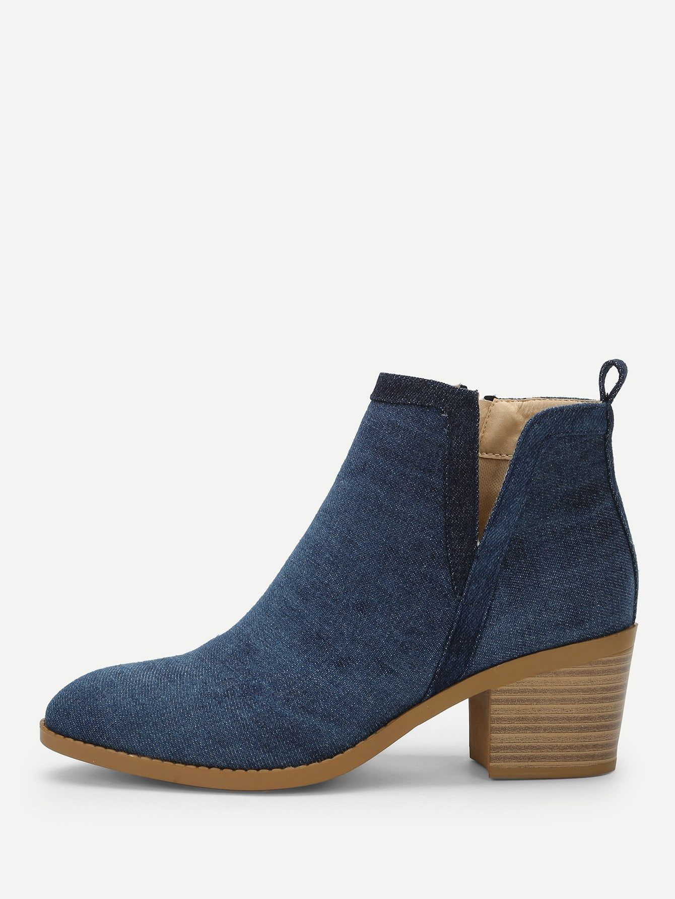 c1407e1720 Casual Point Toe Plain Ankle Side zipper Blue High Heel Chunky Plain Denim Chunky  Heeled Ankle Boots