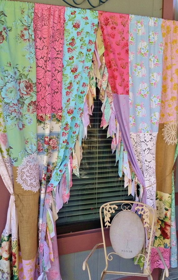 boho shabby chic curtains garden party made to order handmade hippiewild roses floral crochet. Black Bedroom Furniture Sets. Home Design Ideas