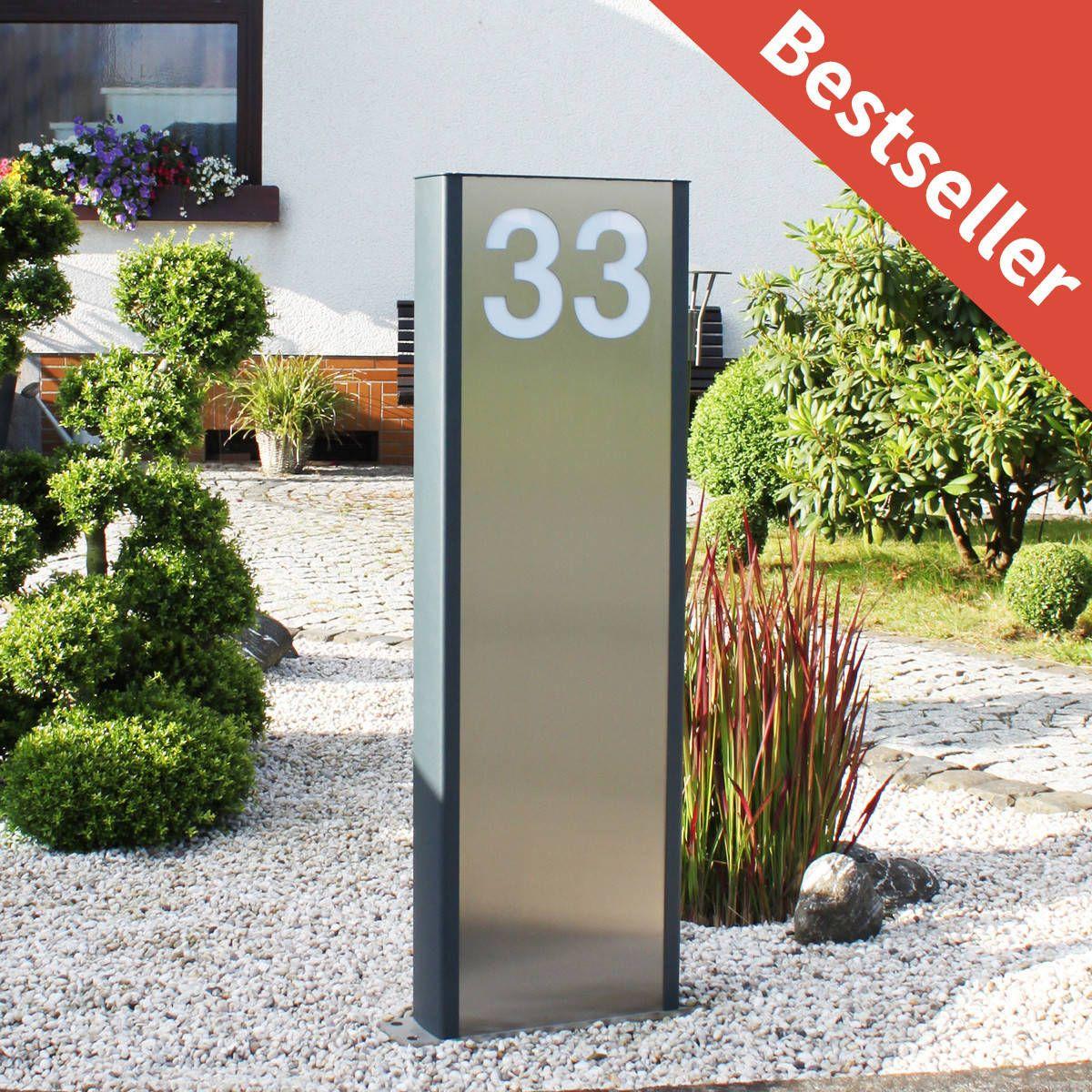 Haus Und Garten: Design LED Beleuchtete Edelstahlstele Pylon RAL 7016