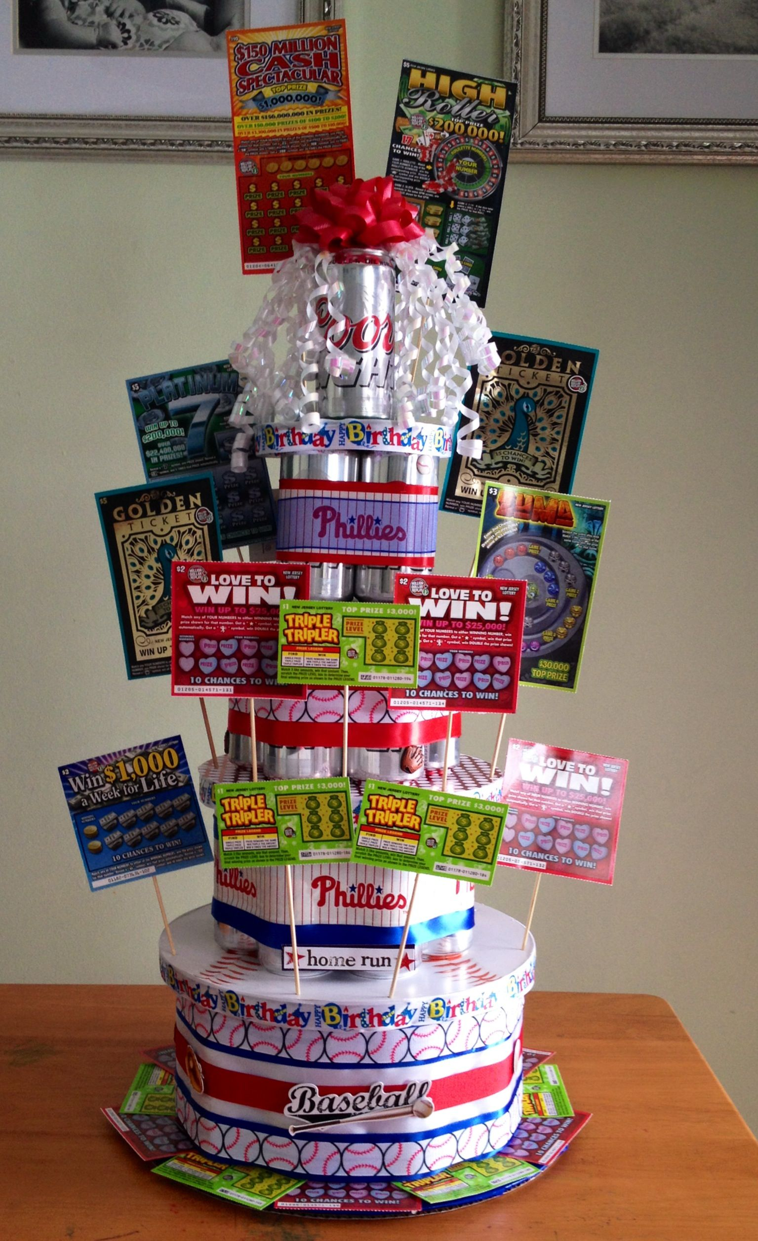 Phillies Birthday Beer Can Cake