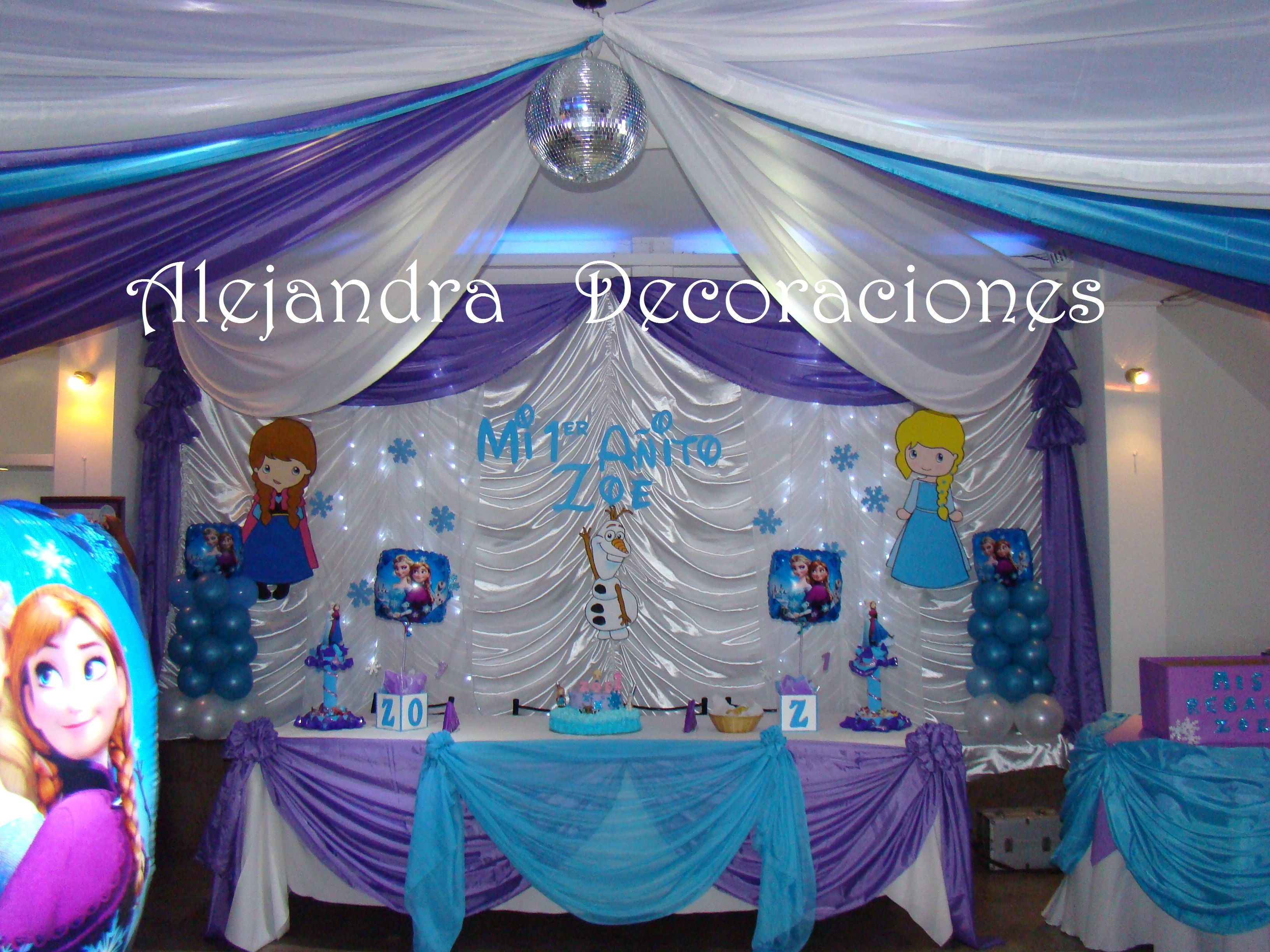 Decoracion infantil frozen telon para mesa principal for Decoracion salon infantil