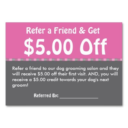 Dog Grooming Customer Referral Coupon Personalize Business Card I