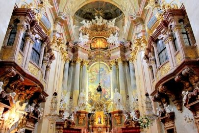 The beautiful interior of St. Peter's Church (Peterskirche), a Baroque Roman Catholic parish church in Vienna, Austria. Inspired by the St Peter's Basilica in Rome, the building was completed in 1733.