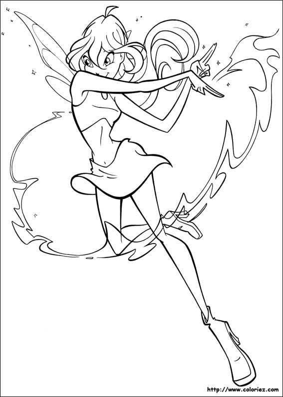 winx club flora coloring page - Google Search | Anime Art | Pinterest