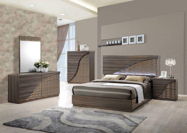 North Zebra Wood Gold Line Master Bedroom Set Master Bedrooms