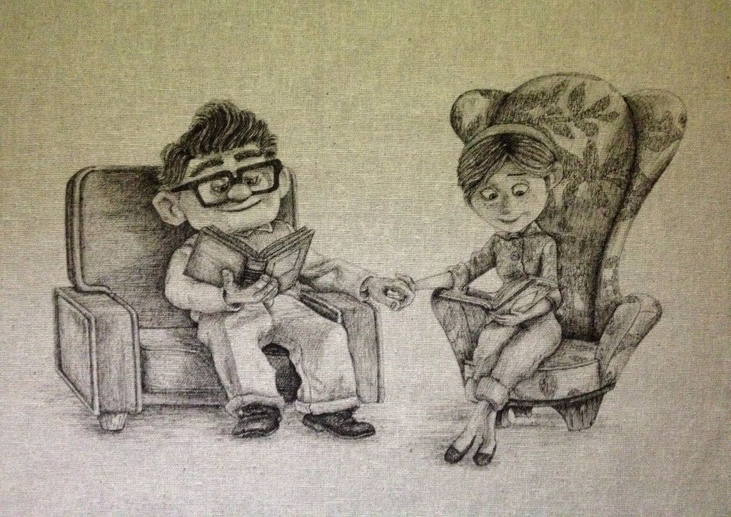 Married Couple Quotes Wallpaper Carl And Ellie Fabric Drawing By Daphnetails Deviantart