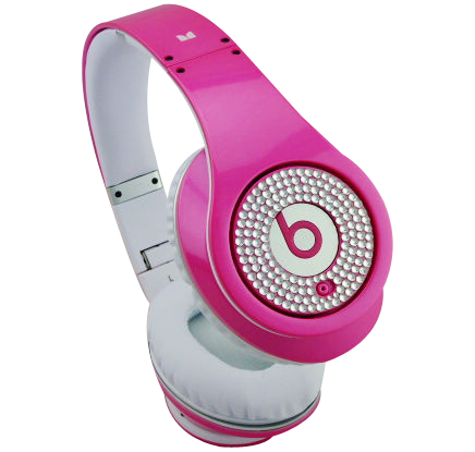 Monster Beats By Dr Dre Studio Headphones Ruby Pink With White Diamond Cheap Beats By Dre Beats Earphones Pink Headphones Dre Headphones