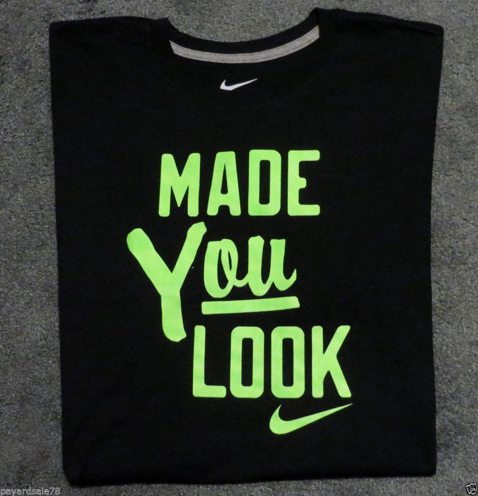 9b9348d5dfea MEN'S SIZE XL NIKE T-SHIRT MADE YOU LOOK NIKE SWOOSH ELECTRO LIME BLACK TEE  #Nike #GraphicTee