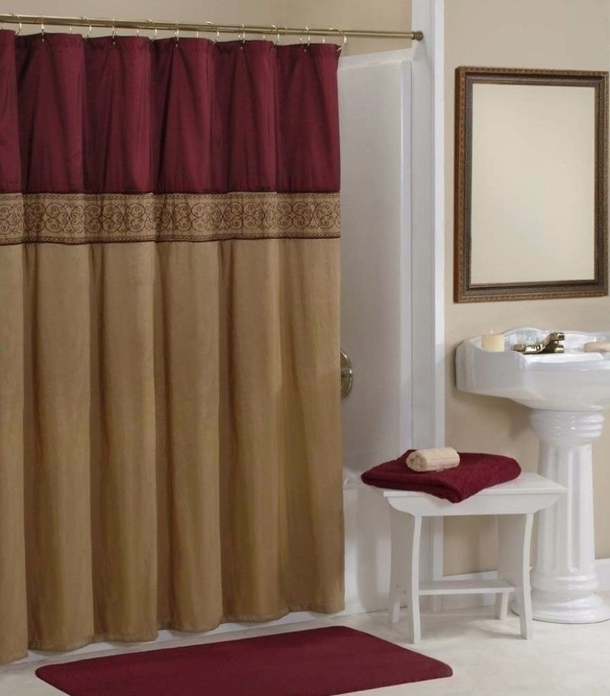Addison Elegant Stylish Repeating Gold Maroon Shower Curtain Bathroom Decor AddisonElegant