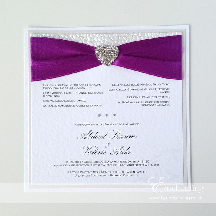 Purple Wedding Invitation The Ariel Collection Bespoke Flat Postcard Featuring White Pebble Paper Bright Violet Ribbon And Diamante