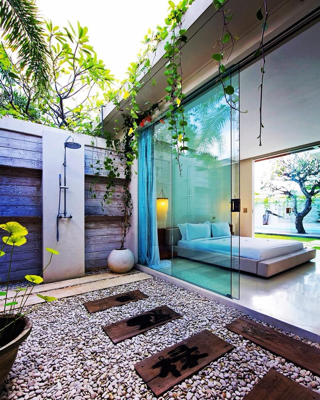 Love An Outdoor Shower Oh And Those Frameless Glass Sliding Doors Are Pretty Gorgeous Too