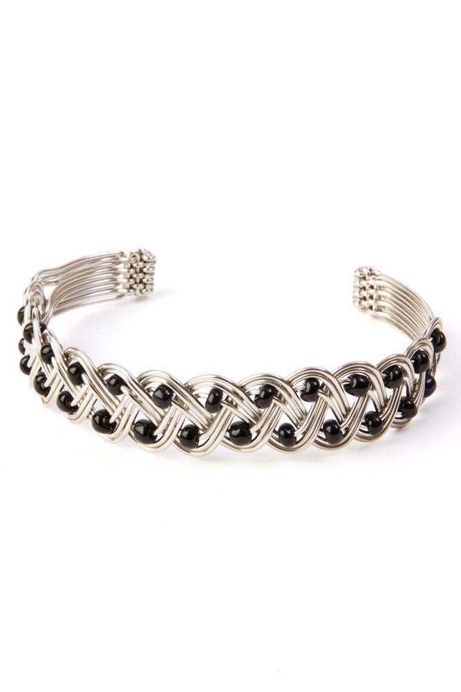 Kenyan Braided Silver Cuff Bracelet with Black Beads