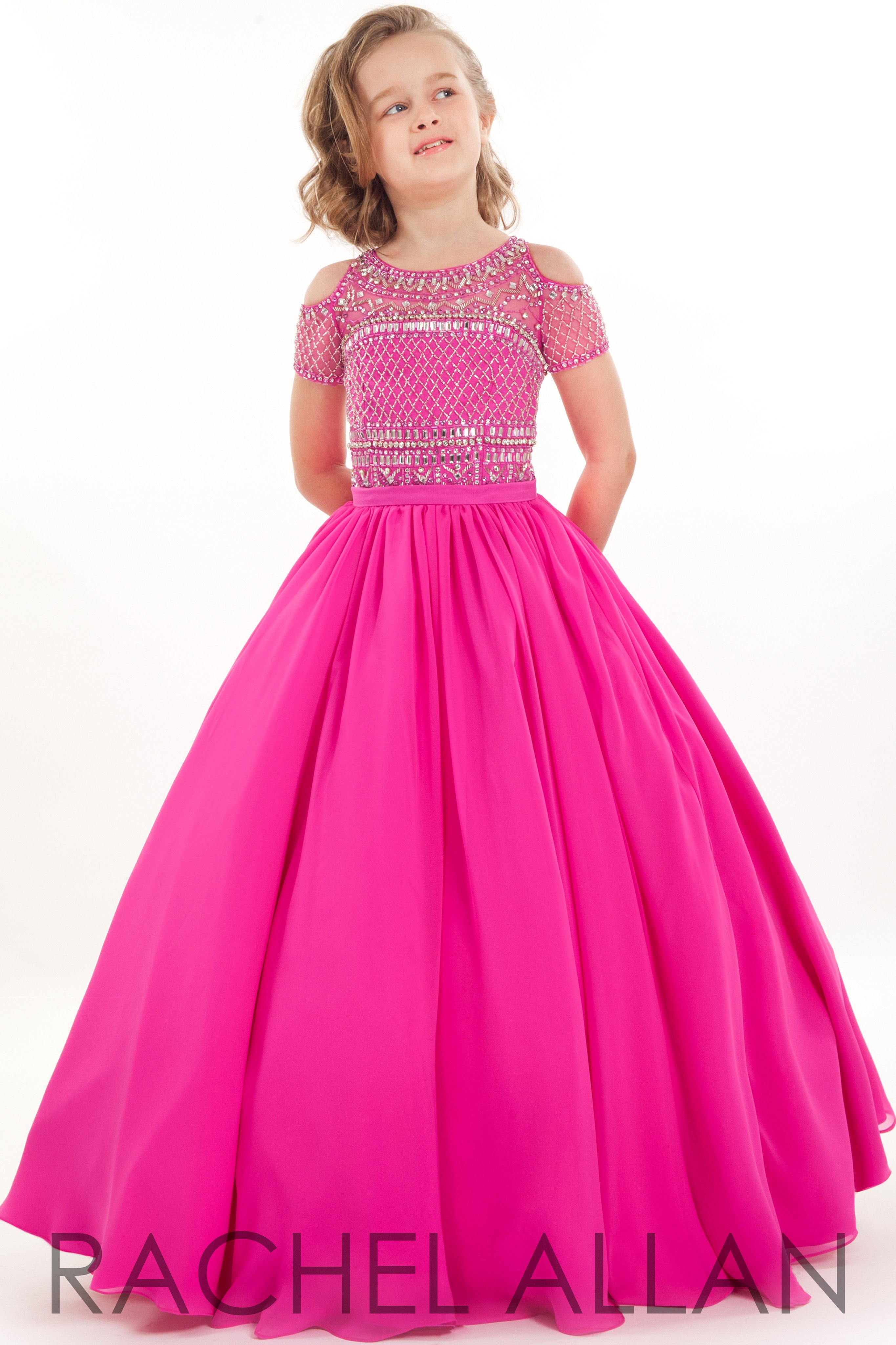Perfect Angels 1683 Hot Pink Girls Pageant Dress