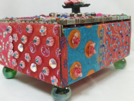 How To Decorate A Treasure Box Unique Decorative Box  Decorated Box  Obsessively Embellished Mixed Decorating Design