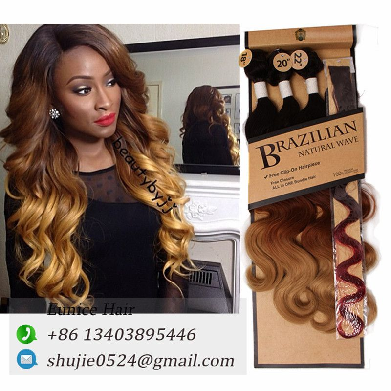 Brazilian Natural Wave 1b 30 27 Three Tone Color Synthetic Body