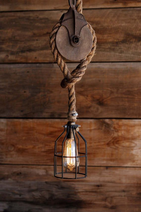 The wood wheel pulley pendant light rustic industrial cage the wood wheel pulley pendant light rustic industrial cage lighting manila rope swag ceiling mozeypictures Images
