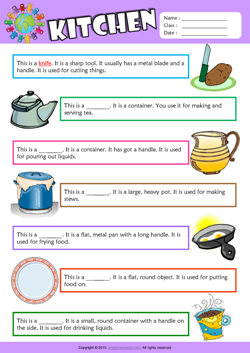 Kitchen Find the Words ESL Vocabulary Worksheet | ESL | English