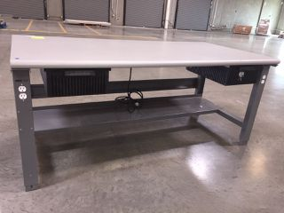 Office Furniture Uline Ng Table With Outlets And Plastic Pull Out Drawers Metal Base Wooden