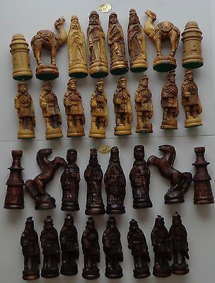ANTIQUE VINTAGE ISRAELI FIGURAL CHESS SET HAND CARVED OLIVE WOOD NAZARETH 32 p