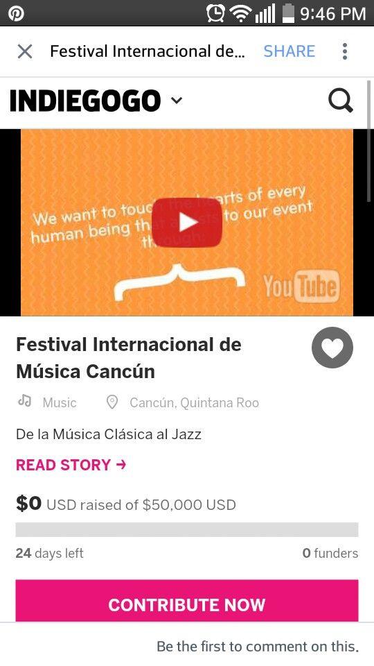 Ayudanos a hacer del Festival Internacional de Música Cancún una realidad. Sé parte del Festival de Música más grande de Cancún dando tu donativo! https://www.indiegogo.com/projects/festival-internacional-de-musica-cancun#/