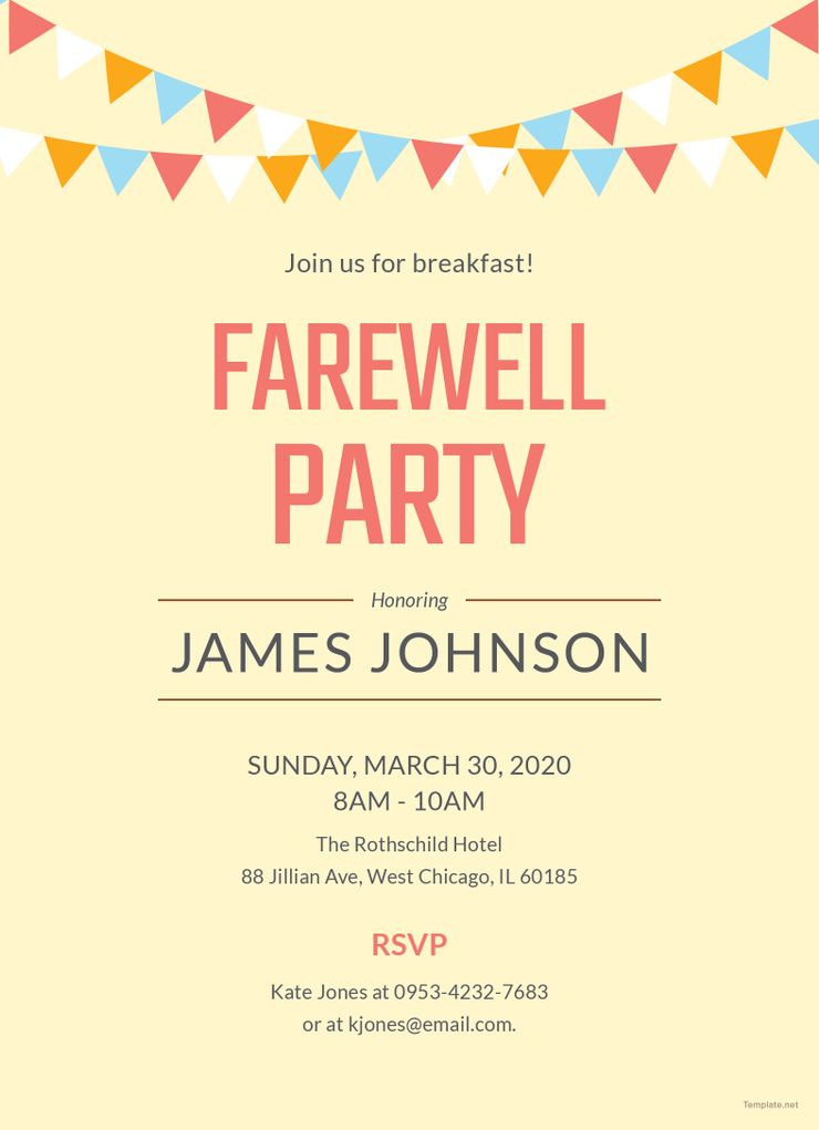 Free Farewell Breakfast Party Invitation Template Farewell Party Invitations Party Invite Template Farewell Parties