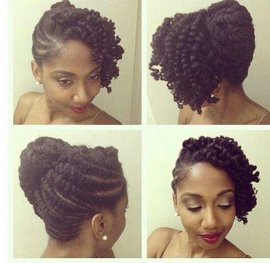 Wedding In Kenya With Twist Hair Style: Sheer Elegance Flat Twists Updo