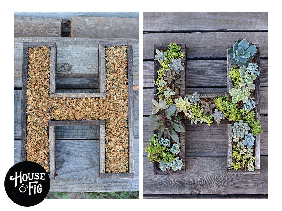 Succulent Wall Art wedding idea! wall-mounted succulent letter diy | true love