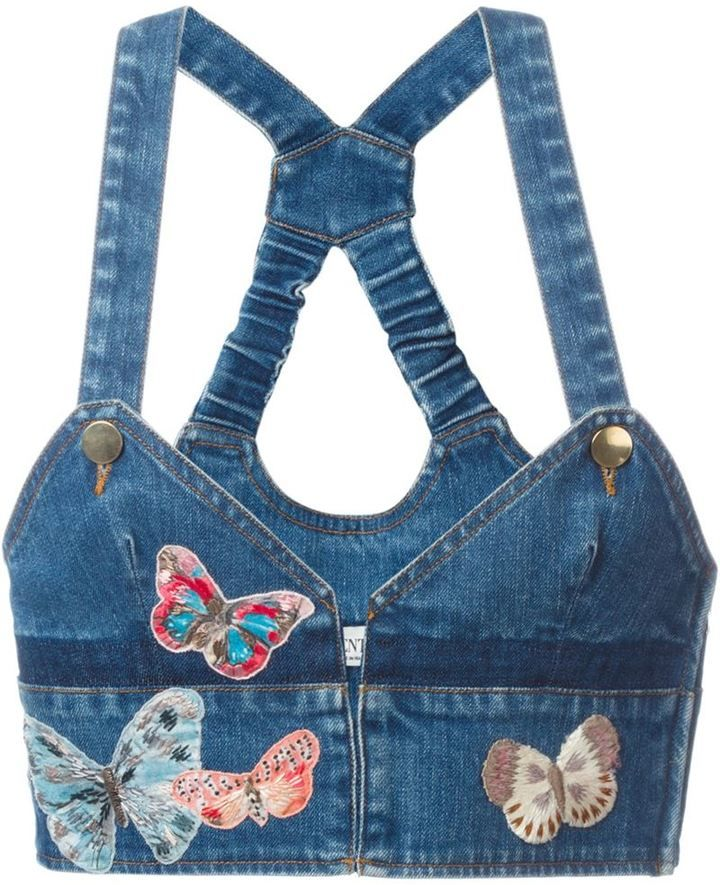Valentino butterfly embroidered denim top