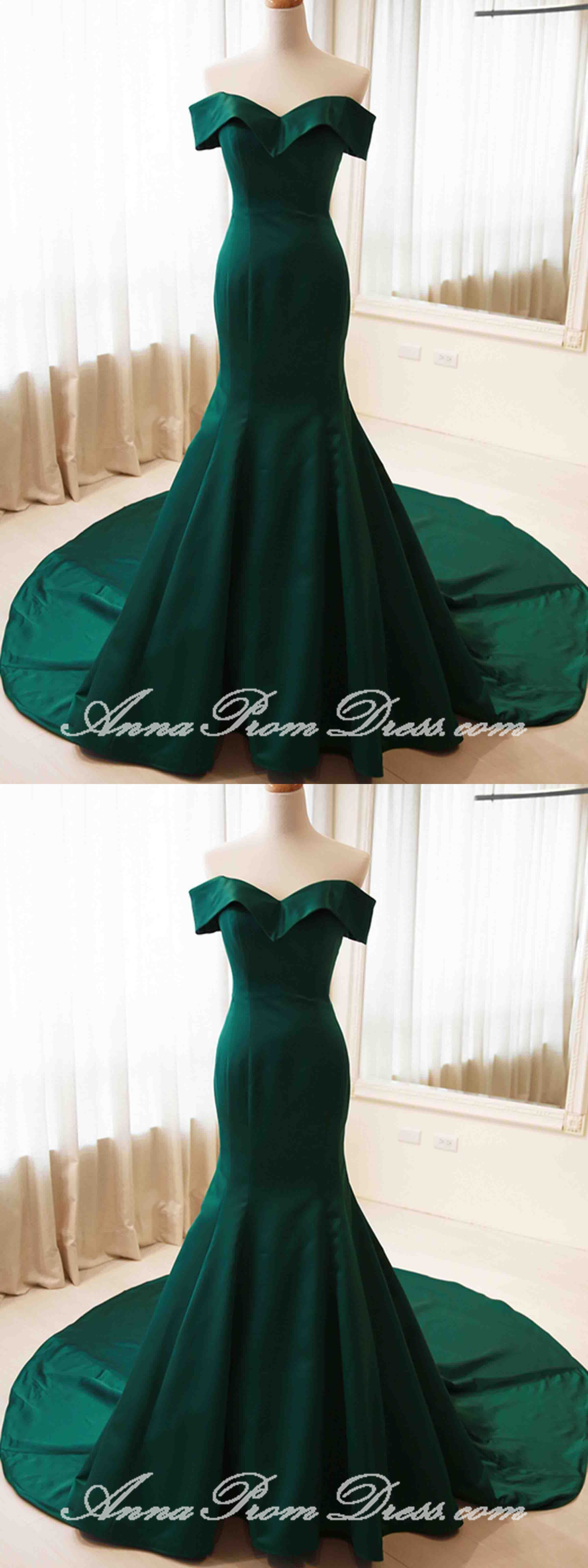 Green prom dresses trumpet mermaid sweep train offtheshoulder long