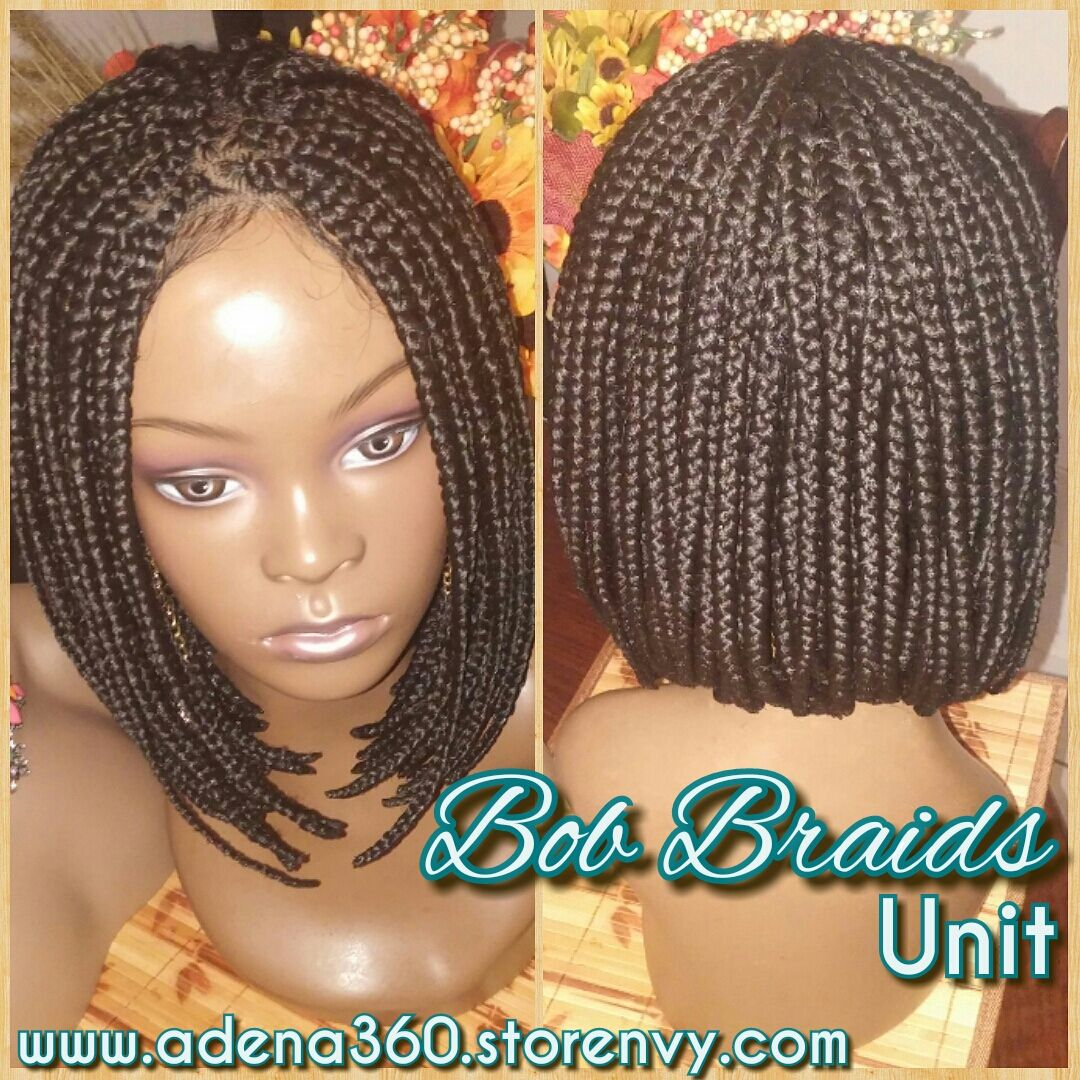 Hand Made Medium Sized Braided Bob Wig Fits Most Heads 4x4 Lace Closure Attached
