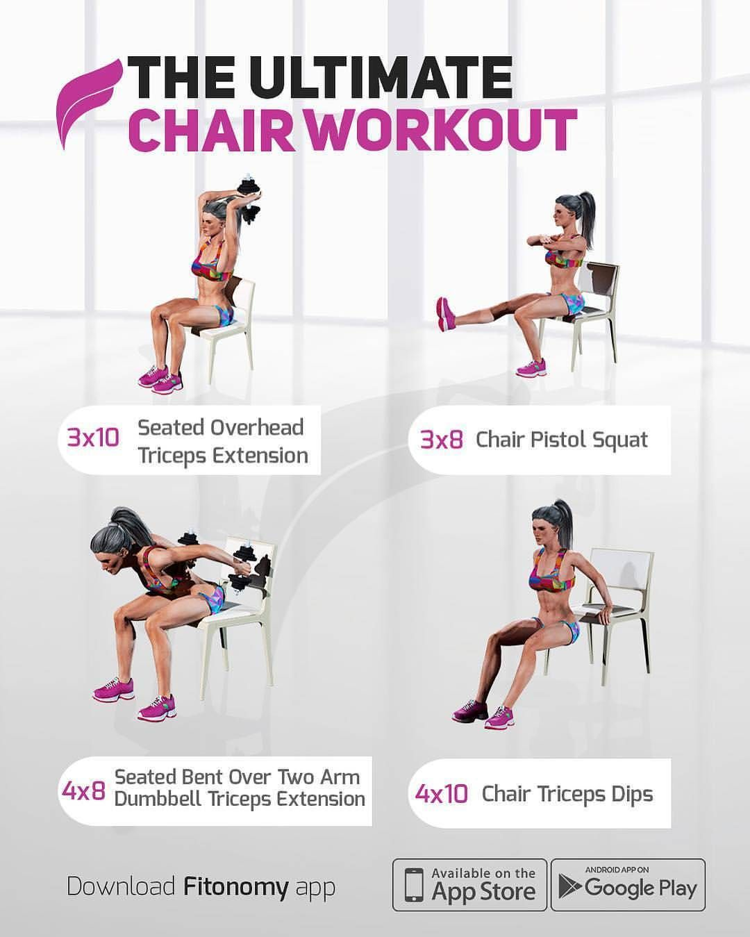 Credit Fitonomy Don T Have Time For The Gym Try This Ultimate Chair Workout At Home Fitonomy Workout Workout For Beginners Chair Exercises