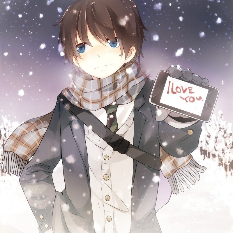 Картинки аниме с надписями я тебя люблю