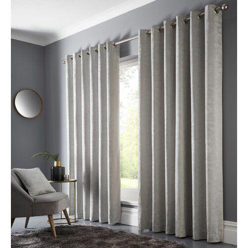 Photo of Vorhang-Set Geof mit Ösen, verdunkelnd Rosalind Wheeler Farbe: Silber, Vorhanggröße: Breite 46 cm; Länge 90 cm
