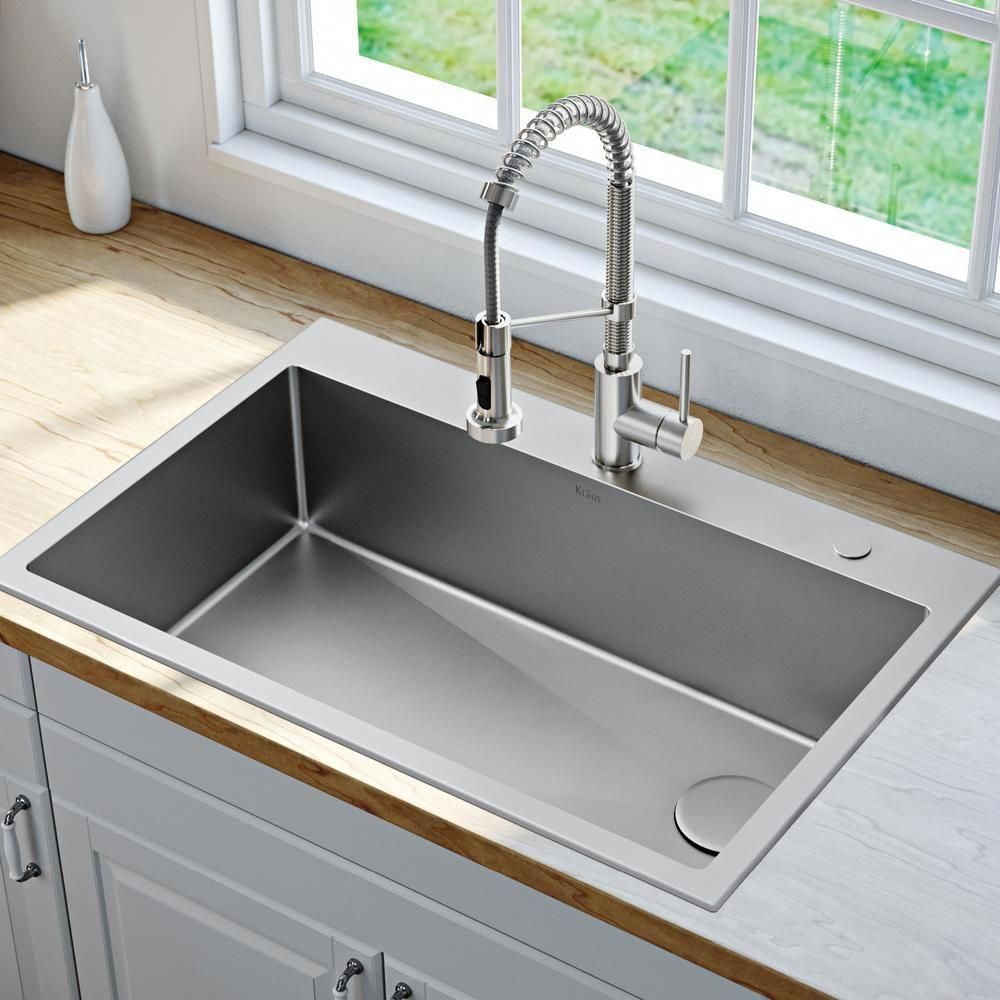 Kraus Loften All In One Dual Mount Drop In Stainless Steel 33 In 2 Hole Single Bowl Kitchen Sink With Pull Down Faucet Kch 1000 The Home Depot Best Kitchen Sinks Drop In Kitchen Sink Single
