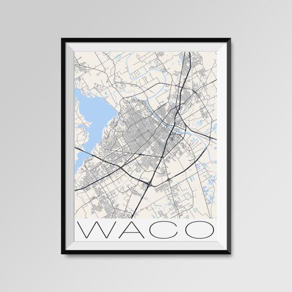Baylor Street Art Wall: WACO Texas Map, Waco City Map Print, Waco Map Poster, Waco
