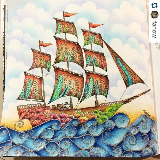 Navio lindíssimo by @fanow ・#oceanoperdido #desenhoscolorir  #lostocean #johannabasford  #coloringbookforadults #colouring #adultcoloring #lostoceanbook #prismacolor #mapedcolorpeps  #jardinsecret #jardimsecreto #florestaencantada  #enchantedforest
