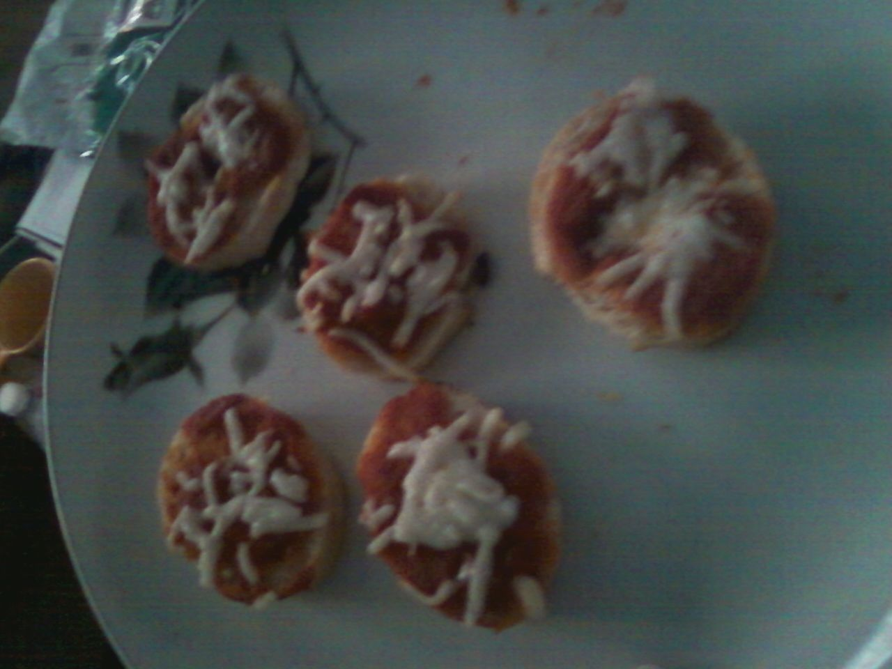 Great for kids!! Homemade bagel bites.  Sams Club club bauget, pizza sauce, and mozzerella cheese. Just made these for lunch so yummy!!