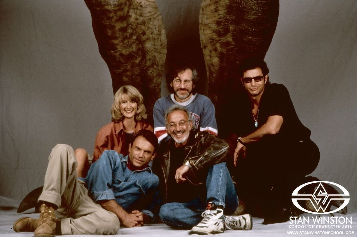 Stan Winston, Steven Spielberg, Laura Dern, Sam Neill, and Jeff ...