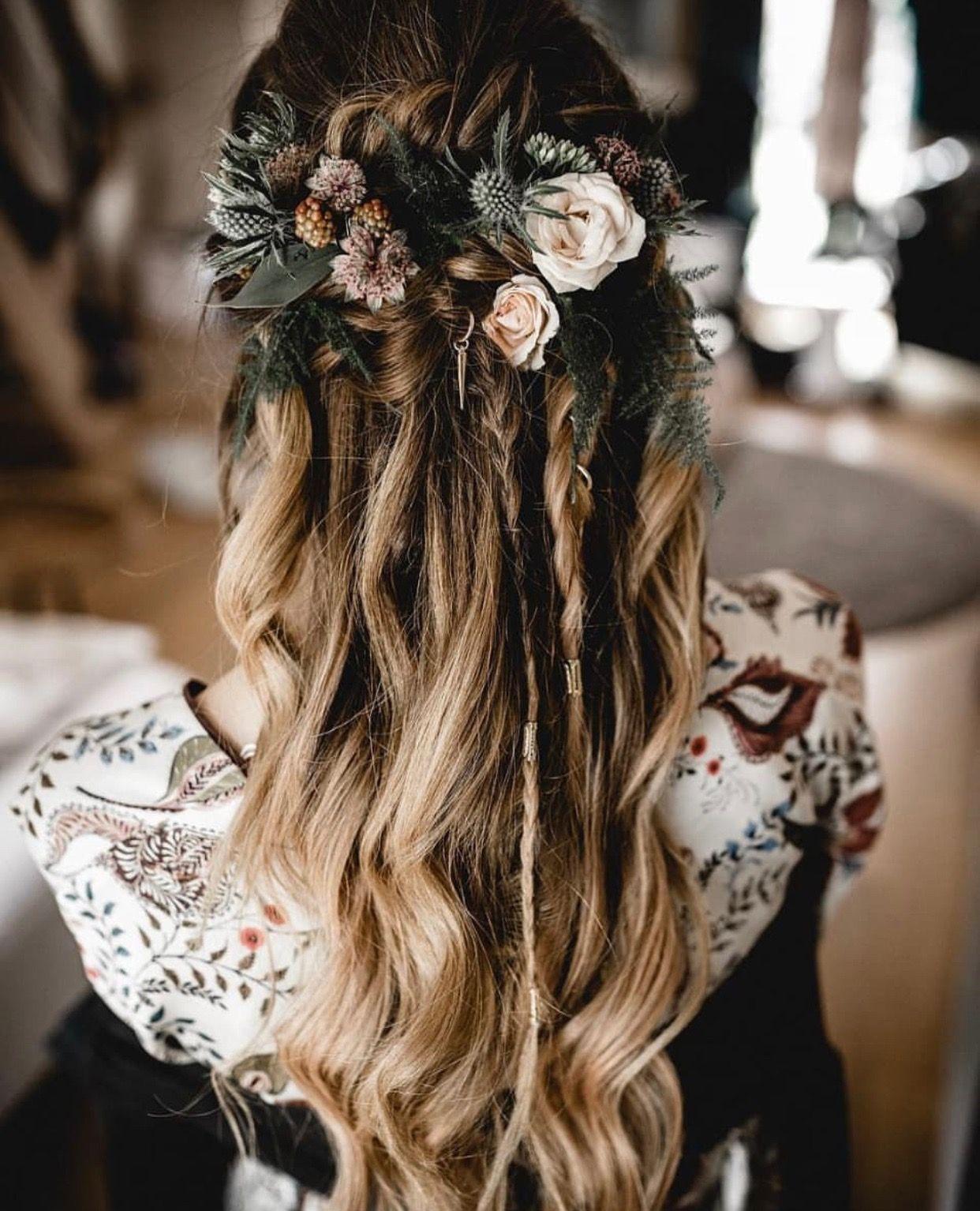 Pin By Whitley K On Floral Headpiece Bohemian Wedding Hair Braided Hairstyles For Wedding Wedding Hair Half